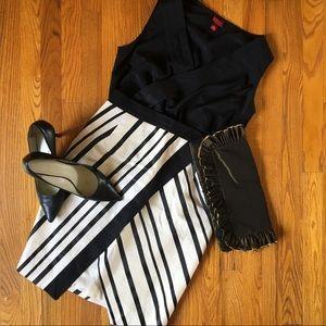 H&M Black/Cream Wrap Front Skirt